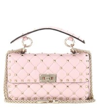 Valentino Rockstud Spike Small Quilted Leather Handbag Pink
