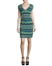 M Missoni Star Striped Sheath Dress Teal Blue