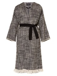 Isabel Marant Iban Tweed Coat Black White