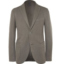 Incotex Green Slim Fit Basketweave Cotton And Ramie Blend Blazer Gray Green
