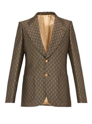 Gucci Gg Monogram Single Breasted Suit Jacket Beige