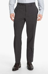 Men's Canali Flat Front Wool Trousers Grey