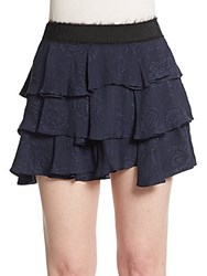 Derek Lam Tiered Silk Mini Skirt Midnight