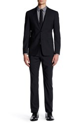 John Varvatos Jake Black Windopane Two Button Notch Lapel Suit Gray