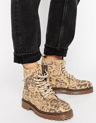 Park Lane Chunky Sole Lace Up Boot Leopard Suede Multi