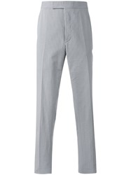 Thom Browne Pinstripe Tapered Trousers Grey
