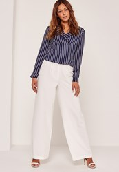 Missguided Vertical Stripe Pyjama Style Shirt Navy