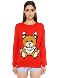 Moschino Bear Intarsia Cotton Knit Sweater