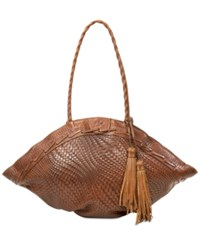 Patricia Nash Woven Trope Dome Extra Large Shoulder Bag Tan