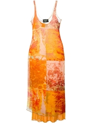 Jean Paul Gaultier Vintage Oil Blotch Print Dress Yellow And Orange