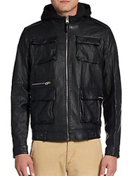 Members Only Faux Leather Hooded Field Jacket Black