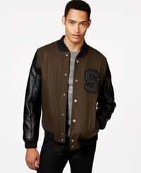 Sean John Faux Leather Sleeve Varsity Jacket Olive