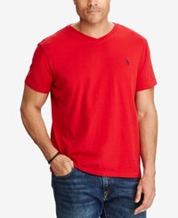 Polo Ralph Lauren Men's Big And Tall Classic Fit V Neck Short Sleeve Cotton Jersey T Shirt Rl2000 Red
