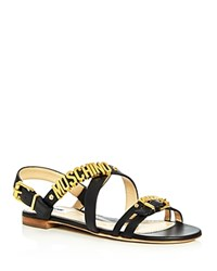 Moschino Logo Strappy Slingback Sandals Black Gold