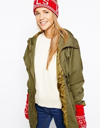 Jack Wills Anderby Hat And Glove Set Red