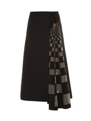 Fendi Checked Gazar Insert Midi Skirt Black