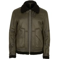 River Island Mens Khaki Green Faux Suede Aviator Jacket