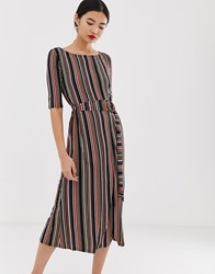 Warehouse Midi Dress With Belt In Stripe Multi