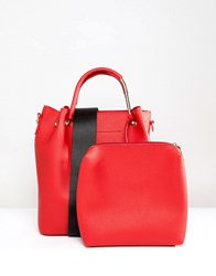 Park Lane Structured Bucket Bag With Webbing Strap And Removable Pouch