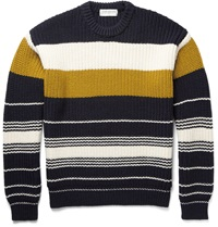 Tomorrowland Chunky Knit Striped Wool Sweater Blue