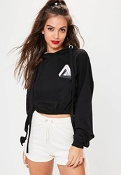 Missguided Black Chaos High Build Graphic Cropped Hoodie