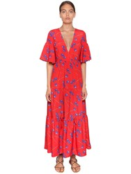 Borgo De Nor Orchid Printed Crepe Long Dress Red
