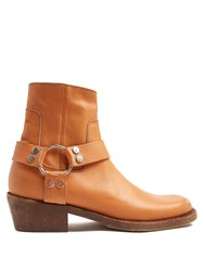 Balenciaga Santiago Distressed Leather Boots Camel