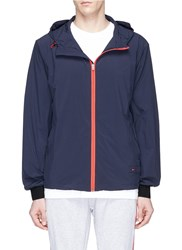 The Upside Contrast Placket Hooded Performance Jacket Blue