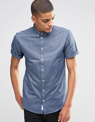 Minimum Oxford Shirt With Short Sleeves In Slim Fit Light Navy