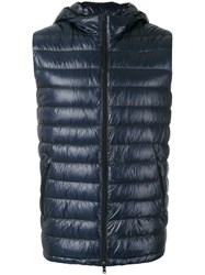 Herno Zipped Hooded Gilet Blue