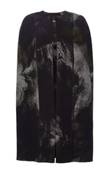 Naeem Khan Painted Rose Crepe Cape Black