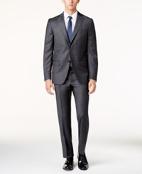 Dkny Men's Charcoal Flannel Slim Fit Suit