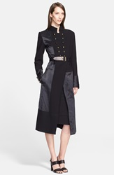 Donna Karan Double Breasted Mixed Media Coat With Removable Leather Belt Black