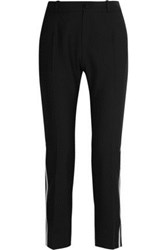 Bouchra Jarrar Satin Trimmed Canvas Straight Leg Pants Black