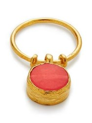Ottoman Hands Stone Charm Ring Coral