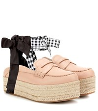 Miu Miu Leather Platform Loafers Pink