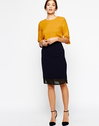 Paisie Fitted Skirt With Sheer Hem Navy