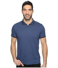 Kenneth Cole Polo With Tipping Baltic Men's Short Sleeve Pullover Blue