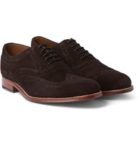 Grenson Dylan Suede Wingtip Brogues Dark Brown