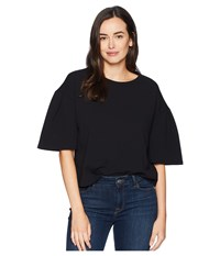 Ellen Tracy Cropped Knit Top W Slit Sleeves Black Clothing