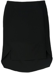 Baja East Asymmetric Short Skirt Black