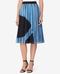 Catherine Malandrino Pleated A Line Skirt Chain Stripe Navy