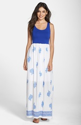 Fraiche By J Floral Print Cutout Maxi Dress Blue White