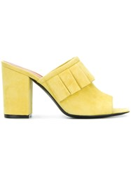 Via Roma 15 Pleated Detail Heeled Mules Yellow And Orange