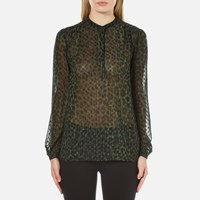 Michael Michael Kors Women's Spotted Cheetah Blouse Moss Green