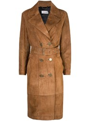 Coach Double Breasted Trench Coat Brown