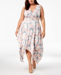 Love Squared Trendy Plus Size High Low A Line Dress Grey Silver Blue