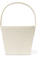 Staud Edie Croc Effect Leather Tote White