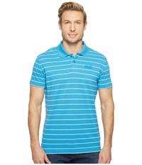 Jack Wolfskin Pique Striped Polo Ocean Blue Stripes Men's Clothing