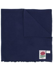 Kent And Curwen Oversized Logo Patch Scarf Blue